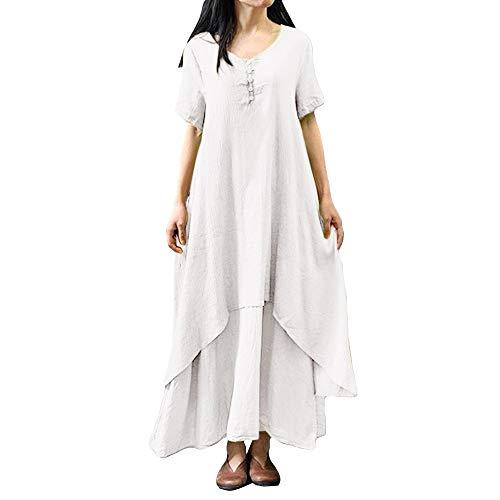HGWXX7 Women Summer Loose Sleeveless Linen Print Plus Size Bohemia Long Dress (3XL, Z-White) ()