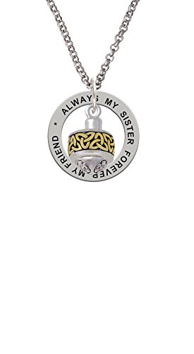 (Two-tone Celtic Knot Trinity Band Spinner - Always My Sister Affirmation Ring Necklace, 24