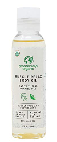 Greenerways Organic Muscle Relax Body Oil - Natural Therapeutic Massaging Oil - Certified by USDA - Cruelty-Free & Paraben Free - No Kidding - Muscle Relief Blend Oil - 4 oz / 120 ml