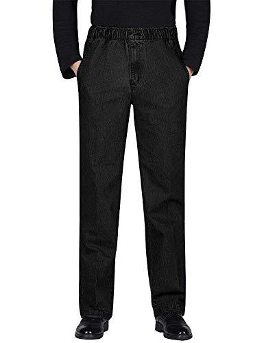 (IDEALSANXUN Men's Elastic Waist Denim Solid Casual Pants (#1 Black, 30))