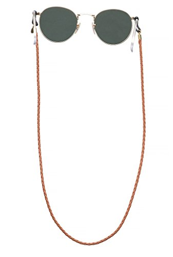 Sintillia His & Hers Leather Sunglass Strap, Glasses Chain, Eyeglass Cord (Brown with Clear - Coachella Guys