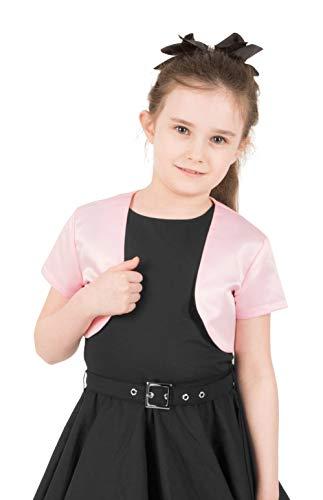 BlackButterfly Kids Satin Short Sleeve Bolero Childrens Girls Shrug (Pink, 7-8 YRS)