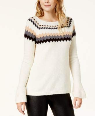 (kensie Womens Knit Fair Isle Pullover Sweater Ivory M)