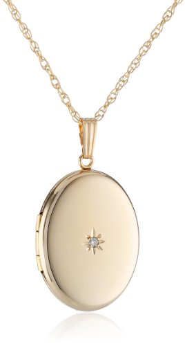 (14k Yellow Gold-Filled Oval Locket with Diamond-Accent, 20