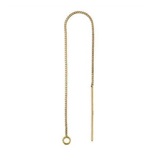 JensFindings Pair of Genuine 14k Gold Ear Threads (Threader Earrings) Box Chain with Ring