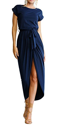 Casual Dress Womens Dress TBONTB Long Sleeve Short Blue Navy Solid Slit Maxi q5d66FBt