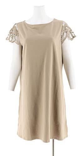 Liz Claiborne NY Lace SLV Bateau Neck Dress Burlap L New A264147 ()