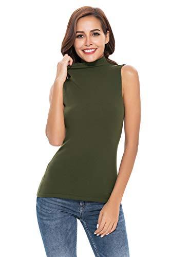 (Yosicil Women Sleeveless Turtle Neck Knit Pullover SweaterShirt Solid Blouse Tank Tops Dark Green)