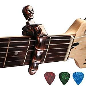 Guitar Capo Acoustic Skull Knob Design Universal 4 5 6 12 Strings Instrument Capos with 3 pcs Guitar Picks for Electric Classical Acoustic Guitar Bass Ukulele Mandolin Banjo and More (Silver) Asmuse ACGC-1