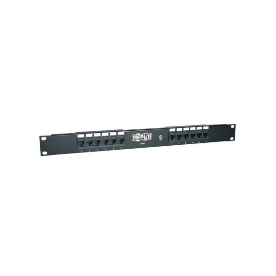 "Tripp Lite 12-Port 1U Rackmount Cat5e 110 Patch Panel 568B, RJ45 Ethernet(N052-012) 1 12-Port Cat5e Patch Panel 568B, 1U 19 in. rackmount ready, 1U Height ( 1.75"" ) 110 type punchdown termination"