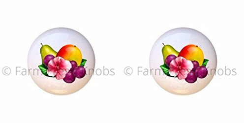 SET OF 2 KNOBS - Pear Plums Pomegranate Fruit - Food and Drink - DECORATIVE Glossy CERAMIC Cupboard Cabinet PULLS Dresser Drawer KNOBS ()