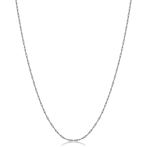 Kooljewelry Solid 14k White Gold Dainty Rope Chain Necklace (0.8 mm, 14 inch) ()