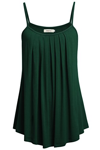 BEPEI Juniors Cami, Loose Fitting Spaghetti Strap Knit Top Summer A Line Green M (Versatile Knit Top)