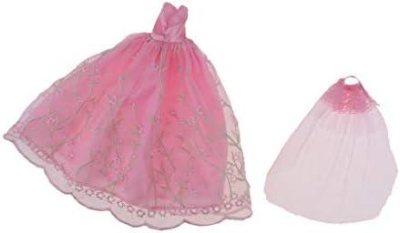 ガーゼ 1/6スケール 人形服ドール服 ウェディングドレス ドールドレス ミニチュア 全3色 - ピンク#1
