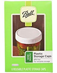 Ball Wide Mouth Plastic Storage Caps, 8-Count per pack ()