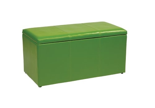 - Office Star Metro 3-Piece Bench and Ottoman Cube Set in Vinyl, Green