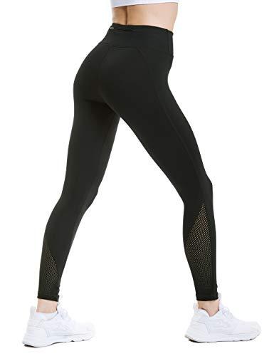 ANBEBEED Women's High Waist Mesh Calf Gym Workout Leggings Tummy Control Active Leggings Yoga Pants with Back Zipper Pocket Black ()