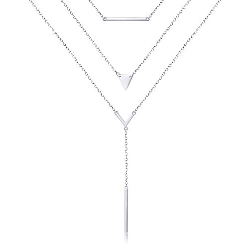 - S925 Sterling Silver Multilayer Dot Bar Layered Triple Long Chain Pendant Necklace for Women