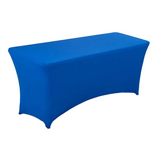 Mikash 6FT Rectangr Stretch Tablecloth - Spandex Table Cover for 6 Foot Tables Wedding, Banquet, Party, DJ, Tradeshows, Vendors Tion Royal Blue | | Model WDDNG - 2009 -
