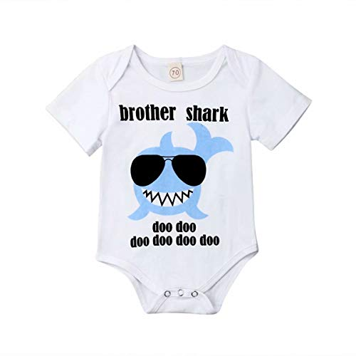 Family Matching Summer Clothes Newborn Baby Boys Short Sleeve Romper Kids Toddler Girls Shark Printed T- Shirt