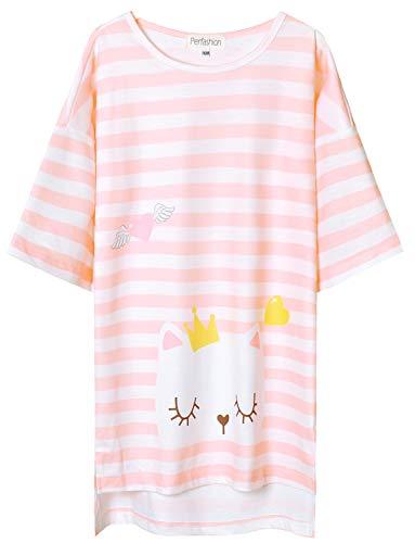 Perfashion Pink Cute Nightgown Kitty Sleepwear Cotton Pajama Dresses for Girls Sleep Shirts 7-16