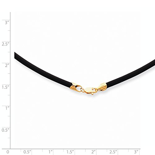 ICE CARATS 14k Yellow Gold 3mm 16 Inch Clasp Black Rubber Link Cord Chain Necklace Leather Fine Jewelry Gift Set For Women Heart by ICE CARATS (Image #5)