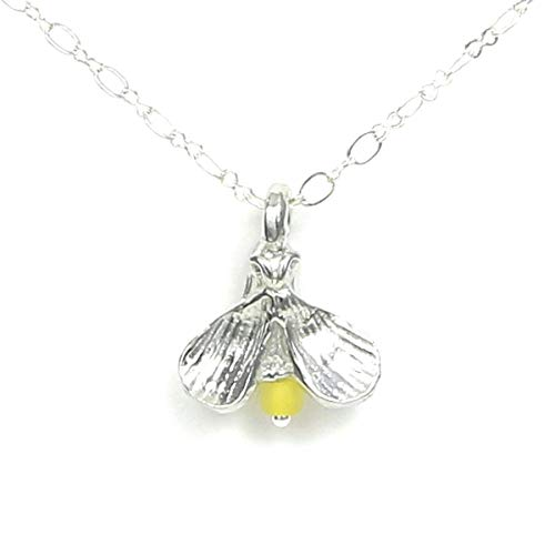 Pewter Firefly Lightning Bug Necklace - Gift Packaged with Chase Your Dreams Story Card - Made in USA]()