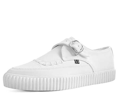 T.U.K. Shoes A9281 Unisex-Adult Creepers, White Faux Leather Pointed Buckle EZC