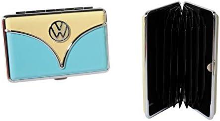 Brisa VW Collection - Volkswagen Visiten-Karten-Etui, zur Aufbewahrung von Visiten-Karten, Business-Card-Case für 35 Karten (VW T1 Bulli Bus Front/Creme/Blau)