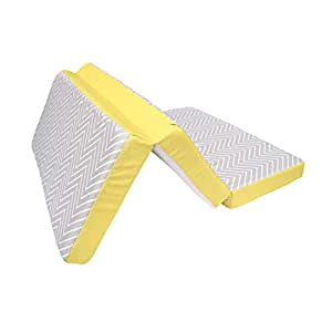 Clevamama ClevaFoam Colchón para Parques Cuna 65x95 cm - Colchón Plegable de Espuma Transpirable - Gris/Amarillo