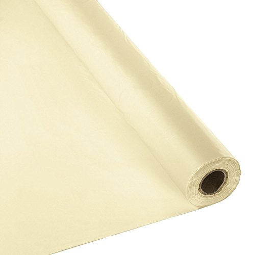 Plastic Party Banquet Table Cover Roll - 300 ft. x 40 in. - Disposable Tablecloth (Ivory) - Cream Roll
