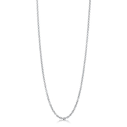 BERRICLE Italian Rhodium Plated Sterling Silver Rolo Chain Necklace 2mm 20