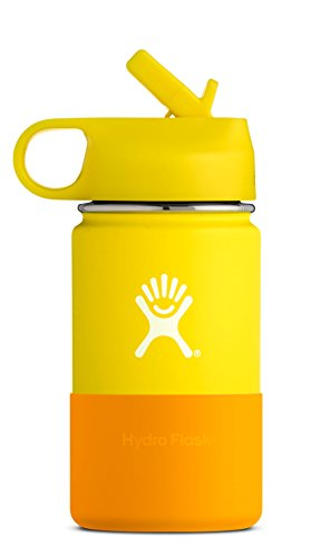 Hydro Flask 12 oz Kids Water Bottle - Stainless Steel & Vacuum Insulated - Wide Mouth with Straw Lid and Silicone Boot - Lemon
