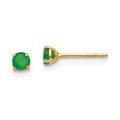 (14k Yellow Gold Round Green Emerald 3mm Post Stud Earrings Birthstone May Gemstone Fine Jewelry Gifts For Women For Her)
