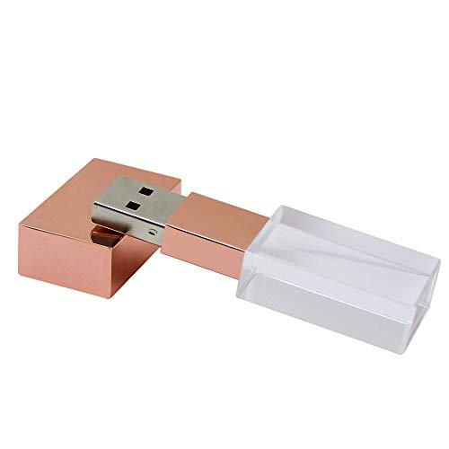 USB 2.0 Flash Drive 32G Transparent Crystal Design Thumb Drives Memory Stick (32G, Rose Gold)