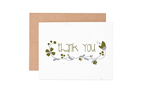 Ruff House Art Floral Thank You Wildflower Seeded Letterpress Greeting Card Box Set ()