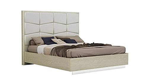 Benjara BM194715 Wooden Eastern King Size Bed with Leather Upholstered Headboard, Brown and Grey,