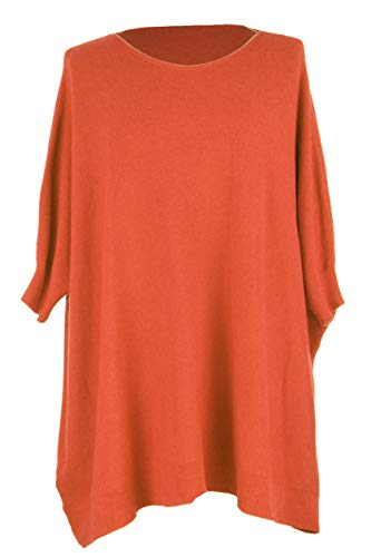 One Jumper Hem Lagenlook Orange Size Knitted Ribbed Size Ladies Plus Batwing Womens Cuff One Sweater HqBOnxpC