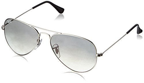 Ray-Ban 3025 Aviator Large Metal Non-Mirrored Non-Polarized Sunglasses, Silver/Light Grey Gradient (003/32), - Ray Silver Frame Aviator Ban