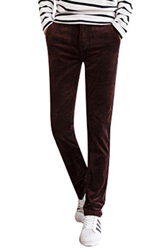 - Menschwear Men's Corduroy Pants Stretch Slim Fit Tapered Legs Coffee 33