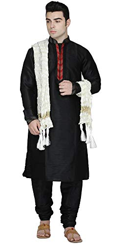 (SKAVIJ Men's Kurta Pajama Stole Set Indian Clothing Dress (X-Large, Black))