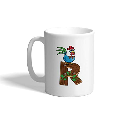 Custom Funny Coffee Mug Coffee Cup R Wooden Letter Rooster Letter Alphabet White Ceramic Tea Cup 11 OZ Design Only