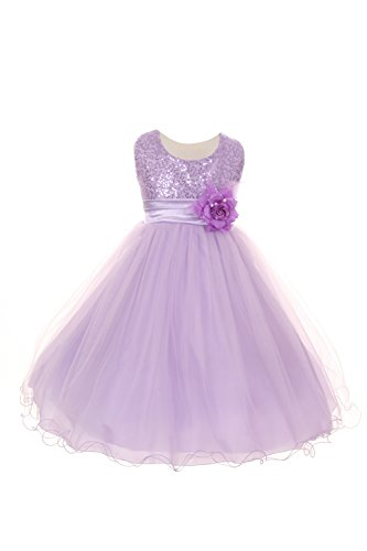 Shanil Inc. Little Girls Lilac Sequin Mesh Flower Sash Special Occasion Dress 2 from Shanil Inc.