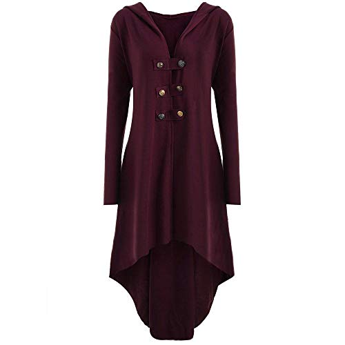 Orangeskycn Fashion Womens Blouse Steampunk Button Hooded Trench Coat Jacket Blazer Outwear Wine