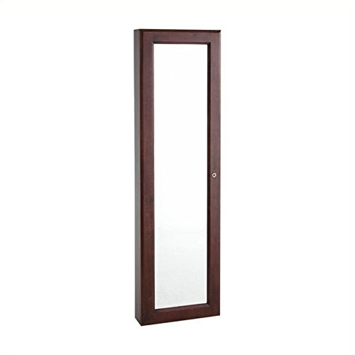Bowery Hill Wall Mount Jewelry Mirror in Cherry (Wall Mount Cherry Mirror)
