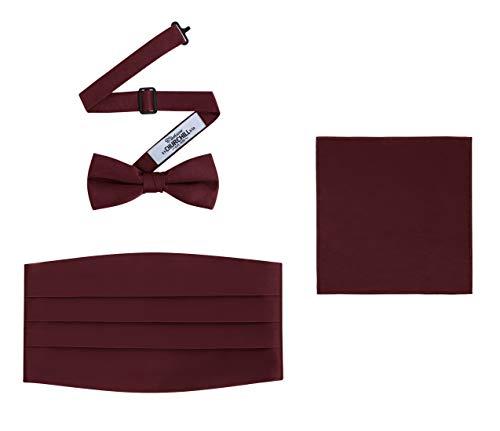 Men's 3 Piece Formal Accessory Set with Bow Tie, Cummerbund & Pocket Hanky (Burgundy)