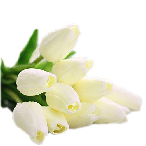 cn-Knight Artificial Flower 30pcs 13'' Faux Tulip Real Touch PU Flower for Wedding Bridal Bouquet Bridesmaid Home Décor Office Hotel Baby Shower Prom Centerpiece Door Wreath(Cream White)