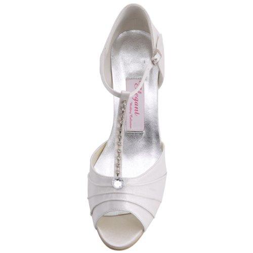 ElegantPark EL-035 Mujer Sandalias Punta Abierta Tacón Bajo Rhinestones Satin Zapatos de Vestir Baile Noche Marfil