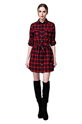 Women's Red Plaid Checker Flannel Cotton Long Sleeve or 1/2 Sleeve Shirt Dress with Belt