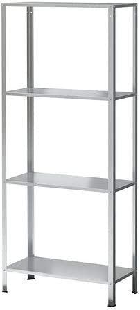 HYLLIS - Estantería galvanizada de 4 niveles para interior y exterior, 60 x 27 x 140 cm